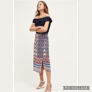 NWOT Anthropologie printed Silk Skirt